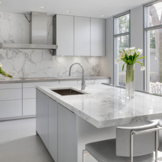 A Modern Kitchen in Gorgeous Calacatta Marble