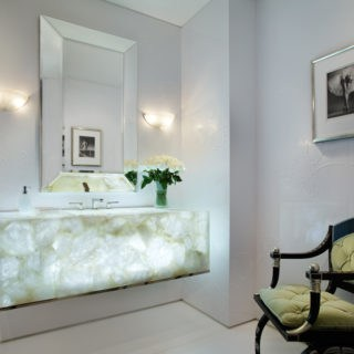 Semiprecious White Quartz Backlit Vanity